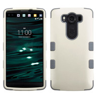 Military Grade TUFF Hybrid Case for LG V10 - Pearl White Grey
