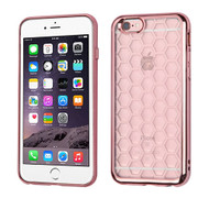 Honeycomb Electroplated Premium Candy Skin Cover for iPhone 6 Plus / 6S Plus - Rose Gold