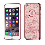 SPOTS Electroplated Premium Candy Skin Cover for iPhone 6 / 6S - Hibiscus Flower Rose Gold