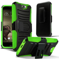 Advanced Armor Hybrid Kickstand Case with Holster for HTC One A9 - Black Green