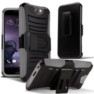 *Sale* Advanced Armor Hybrid Kickstand Case with Holster for HTC One A9 - Black Grey