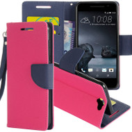 *Sale* Leather Wallet Shell Case for HTC One A9 - Hot Pink