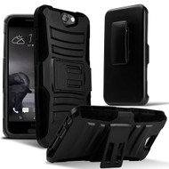 *Sale* Advanced Armor Hybrid Kickstand Case with Holster for HTC One A9 - Black