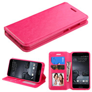 Book-Style Leather Folio Case for HTC One A9 - Hot Pink
