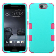 Military Grade Certified TUFF Hybrid Case for HTC One A9 - Teal Hot Pink