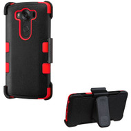Military Grade Certified TUFF Hybrid Case with Holster for LG V10 - Black Red