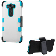 Military Grade Certified TUFF Hybrid Case with Holster for LG V10 - White Teal