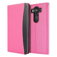 *SALE* Embassy Leather Flip Wallet Case for LG V10 - Hot Pink