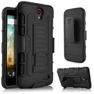 Robust Armor Stand Protector Cover with Holster for ZTE Avid Plus / Avid Trio / Maven 2 / Prestige / Sonata 3 - Black