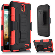 Robust Armor Stand Protector Cover with Holster for ZTE Avid Plus / Avid Trio / Maven 2 / Prestige / Sonata 3 - Red