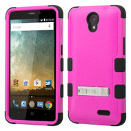 Military Grade Certified TUFF Hybrid Kickstand Case for ZTE Avid Plus / Maven 2 / Prestige / Sonata 3 - Hot Pink