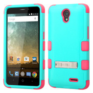 Military Grade Certified TUFF Hybrid Kickstand Case for ZTE Avid Plus / Prestige - Teal Hot Pink