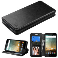 *CLEARANCE* Book-Style Leather Folio Case for ZTE Avid Plus / Avid Trio / Maven 2 / Prestige / Sonata 3 - Black