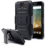 Advanced Armor Hybrid Kickstand Case with Holster for ZTE Avid Plus / Avid Trio / Maven 2 / Prestige / Sonata 3 - Black