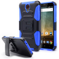 Advanced Armor Hybrid Kickstand Case with Holster for ZTE Avid Plus / Avid Trio / Maven 2 / Prestige / Sonata 3 - Blue
