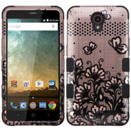 Military Grade Certified TUFF Image Hybrid Case for ZTE Avid Plus / Prestige - Lace Flowers Rose Gold