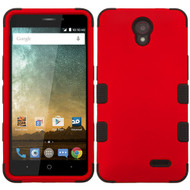 Military Grade Certified TUFF Hybrid Case for ZTE Avid Plus / Avid Trio / Maven 2 / Prestige / Sonata 3 - Red