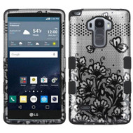 Military Grade Certified TUFF Image Hybrid Case for LG G Stylo / Vista 2 - Lace Flowers Black