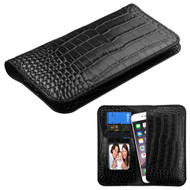 Crocodile Embossed Genuine Leather Organizer Wallet Case - Black