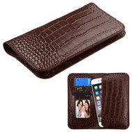 *SALE* Crocodile Embossed Genuine Leather Organizer Wallet Case - Brown