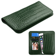 *SALE* Crocodile Embossed Genuine Leather Organizer Wallet Case - Green