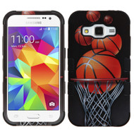 Military Grade Certified TUFF Image Hybrid Case for Samsung Galaxy Core Prime / Prevail LTE - Basketball Hoop
