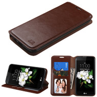 Book-Style Leather Folio Case for LG K7 / K8 / Escape 3 / Treasure LTE / Tribute 5 - Brown