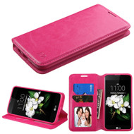 Book-Style Leather Folio Case for LG K7 / K8 / Escape 3 / Treasure LTE / Tribute 5 - Hot Pink