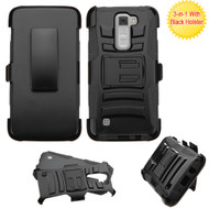 Advanced Armor Hybrid Kickstand Case with Holster for LG K7 / K8 / Escape 3 / Treasure LTE / Tribute 5 - Black