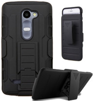Robust Armor Stand Protector Cover with Holster for LG K7 / K8 / Escape 3 / Treasure LTE / Tribute 5 - Black
