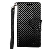 *SALE* Leather Wallet Shell Case for LG K7 / K8 / Escape 3 / Treasure LTE / Tribute 5 - Carbon Fiber