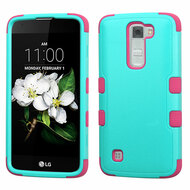 Military Grade Certified TUFF Hybrid Armor Case for LG K7 / Treasure LTE / Tribute 5 - Teal Hot Pink