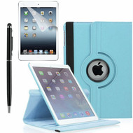 360 Degree Smart Rotating Leather Case Accessory Bundle for iPad Air 2 - Baby Blue