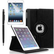 360 Degree Smart Rotating Leather Case Accessory Bundle for iPad Air 2 - Black