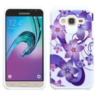 Hybrid Multi-Layer Armor Case for Samsung Galaxy Amp Prime / Express Prime / J3 / Sol - Hibiscus Flower Romance Purple