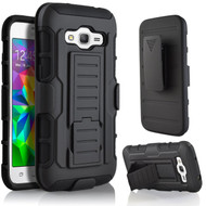 Robust Armor Stand Protector Cover with Holster for Samsung Galaxy Amp Prime / Express Prime / J3 / Sol - Black