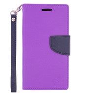 *SALE* Leather Wallet Shell Case for Samsung Galaxy Amp Prime / Express Prime / J3 / Sol - Purple