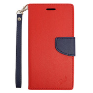 Leather Wallet Shell Case for Samsung Galaxy Amp Prime / Express Prime / J3 / Sol - Red