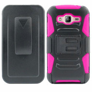 *SALE* Advanced Armor Hybrid Kickstand Case with Holster for Samsung Galaxy Amp Prime / Express Prime / J3 / Sol - Pink