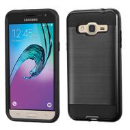 Brushed Hybrid Armor Case for Samsung Galaxy Amp Prime / Express Prime / J3 / Sol - Black