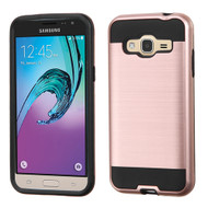 Brushed Hybrid Armor Case for Samsung Galaxy Amp Prime / Express Prime / J3 / Sol - Rose Gold