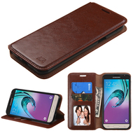 Book-Style Leather Folio Case for Samsung Galaxy Amp Prime / Express Prime / J3 / Sol - Brown