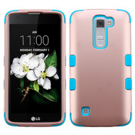Military Grade Certified TUFF Hybrid Armor Case for LG K7 / Treasure LTE / Tribute 5 - Rose Gold Teal