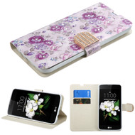 Art Design Portfolio Leather Wallet for LG K7 / K8 / Escape 3 / Treasure LTE / Tribute 5 - Fresh Purple Flowers