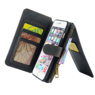 Luxury Coach Series Leather Wallet with Removable Magnet Case for iPhone 6 / 6S - Black