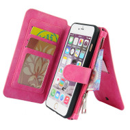Luxury Coach Series Leather Wallet with Removable Magnet Case for iPhone 6 / 6S - Hot Pink