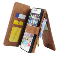 *SALE* Luxury Coach Series Leather Wallet with Removable Magnet Case for iPhone 6 Plus / 6S Plus - Brown