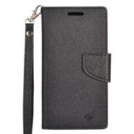 *Sale* Leather Wallet Shell Case for ZTE Avid Plus / Avid Trio / Maven 2 / Prestige / Sonata 3 - Black
