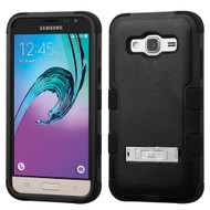 Military Grade TUFF Hybrid Kickstand Case for Samsung Galaxy Amp Prime / Express Prime / J3 / Sol - Black