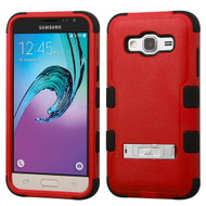 Military Grade TUFF Hybrid Kickstand Case for Samsung Galaxy Amp Prime / Express Prime / J3 / Sol - Red